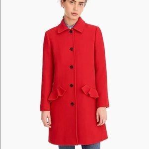 J. Crew Italian Wool Red Topcoat Ruffle Pockets